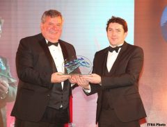 Geoffrey Russell (left) accepting the Wild Geese Award from Enda Stanley of Derrinstown Stud