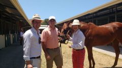 Waterhouse (right) with training partner Adrian Bott (left) at Magic Millions