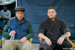 """Lovitz and McGregor on the set of the Pegasus World Cup's """"13th Jockey"""""""