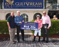 Hall of Fame trainer Nick Zito celebrates his 2,000th career win after jockey Nik Juarez guided Forever Plus to victory