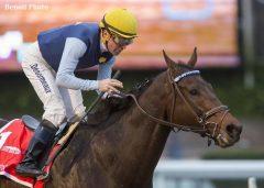 Blue Tone and jockey Kent Desormeaux win the San Gabriel Stakes
