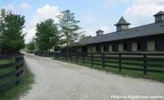 View of a barn at the HighPointe Farm and Training Center in LaGrange, Kentucky