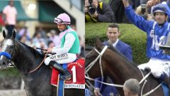 Winx (right) has won 14 straight, while Arrogate has earned more than $11 million in just seven races