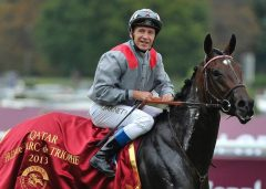 Thierry Jarnet piloted Treve to consecutive victories in the Prix de l'Arc de Triomphe (photo courtesy FRBC Twitter feed)