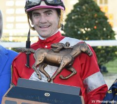 Brian Hernandez, Jr. with the trophy after the Sam F. Davis at Tampa Bay Downs