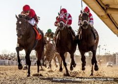 Honorable Duty (left) with jockey Julien Leparoux aboard outduels International Star (center) and Dazzling Gem (right) to win the G3 Mineshaft Handicap at Fair Grounds.