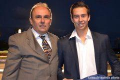 Trainer Antonio Sano, with son, Alex, following Gunnevera's Fountain of Youth victory