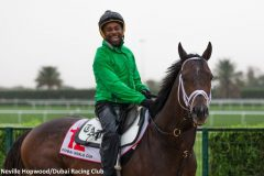 Exercise rider Nick Bush smiles at the camera after galloping Dubai World Cup contender Neolithic at Meydan