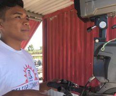 Kietze Garcia operates the front-stretch camera