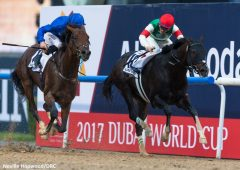 Thunder Snow, outside, bests Epicharis by a head in the 2017 UAE Derby