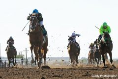 Hence, left, won the Sunland Derby by 3 3/4 lengths over Conquest Mo Money (lime green silks)