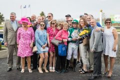 Members of Livin the Dream enjoy Purely a Dream's Bourbonette Oaks victory