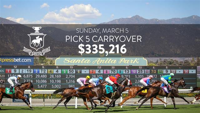 Pick Five Carryover Of 335 216 Sunday At Santa Anita